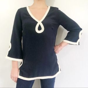 Milly Blue Silk Nautical Rope Accent Tunic Top XS
